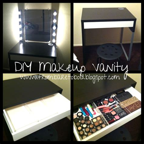 diy makeup desk with lights from bare to bold diy makeup vanity on a budget