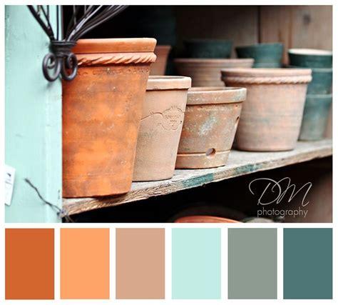terra cotta pots orange blue color palette things for the house orange bathrooms house
