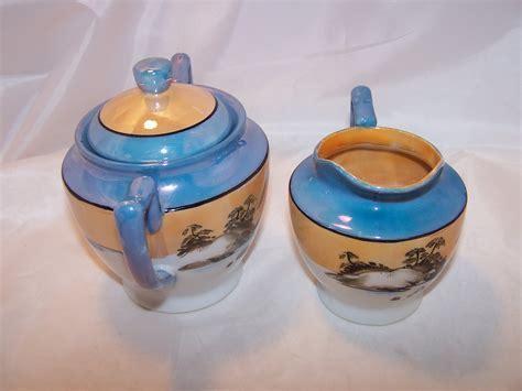 Lusterware Creamer, Sugar Bowl, Hand Painted, Japan
