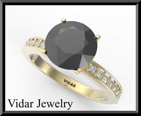 Black And White Diamond Engagement Ring For Women