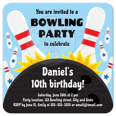 Bowling birthday party invitation for kids with bowling