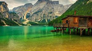 Alps Mountains Lake House Forest Bridge Wallpaper Hd ...