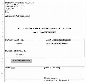 pleading form california superior court word automation With legal caption template