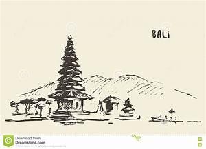 Bali Sketch Penjor For Galungan, Ceremonial Umbrellas