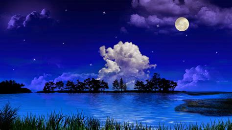 Beauty Of Moonlight At Night Sky Near Sea Poetic Nature