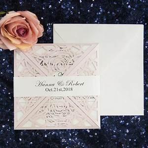 hot sale unique blush laser cut wedding invitations With classic wedding invitations philippines