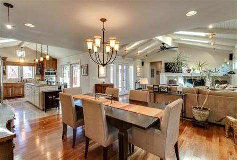 Captivating Kitchen Dining And Living Room Combination For