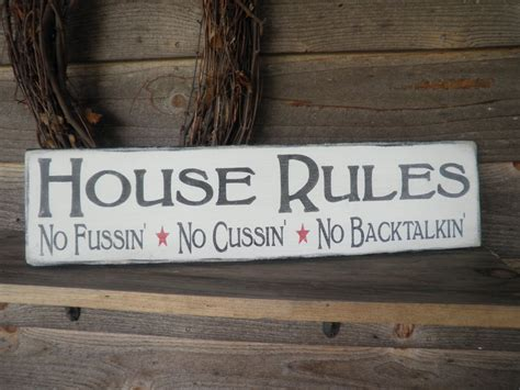 Country Home Decor Wood Signs Family Rules Home Decor