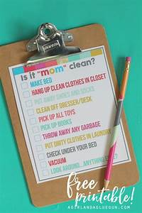 Chore Chart Checklist Is It Quot Quot Clean Bedroom Checklist Printables A Girl