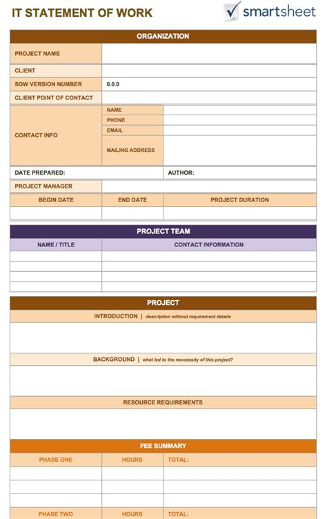 Contract Sow Template by Free Statement Of Work Templates Smartsheet