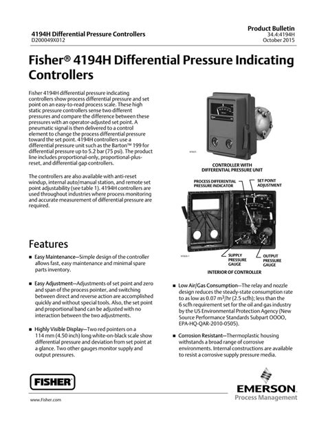 Fisher 4194H Differential Pressure Indicating Controllers