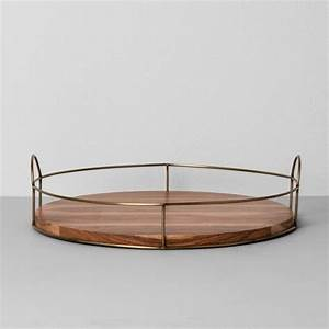 """Round Wood and Wire Tray (16"""") - Hearth & Hand with"""
