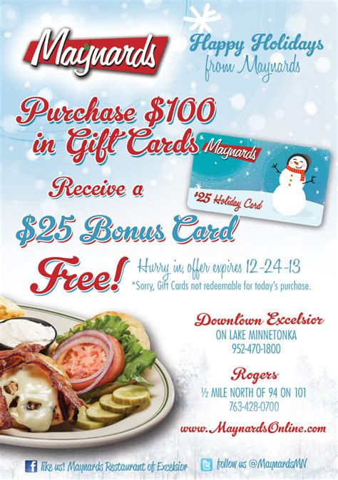 xmas gift card promotion gift card promotion maynards restaurant rogers mn welcome to maynards restaurant