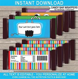 monster hershey candy bar wrappers personalized candy bars With custom candy wrappers templates