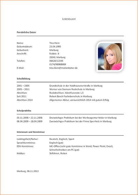 Lebenslauf Muster Für Schüler by Lebenslauf Vorlage F 252 R Sch 252 Ler Gute 10 Lebenslauf