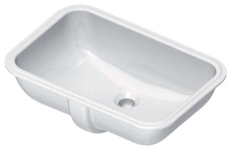 White Ceramic Rectangular Undermount Bathroom Sink