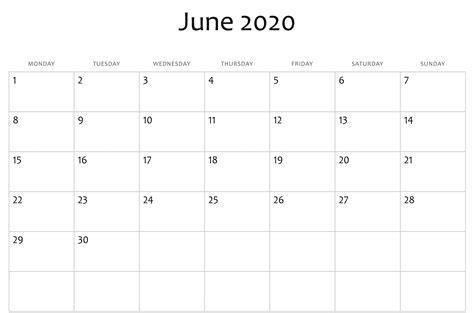 june  calendar printable blank template  word excel