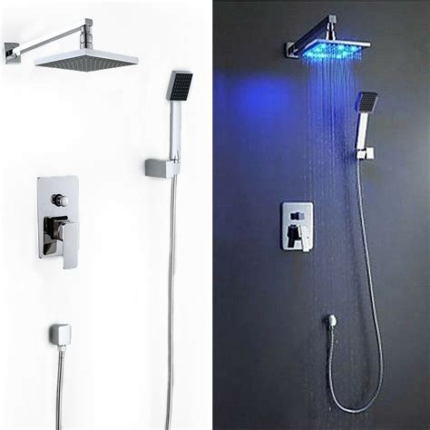 Shower Faucet Sets by 8 Quot Led Rainfall Shower Arm Valve Handspray
