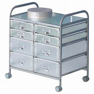 Desserte à Roulettes : caisson sur roulettes roli 2 8 tiroirs aluminium mobil meubles ~ Teatrodelosmanantiales.com Idées de Décoration