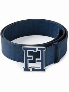 Fendi Ff Logo Buckle Belt in Blue for Men | Lyst