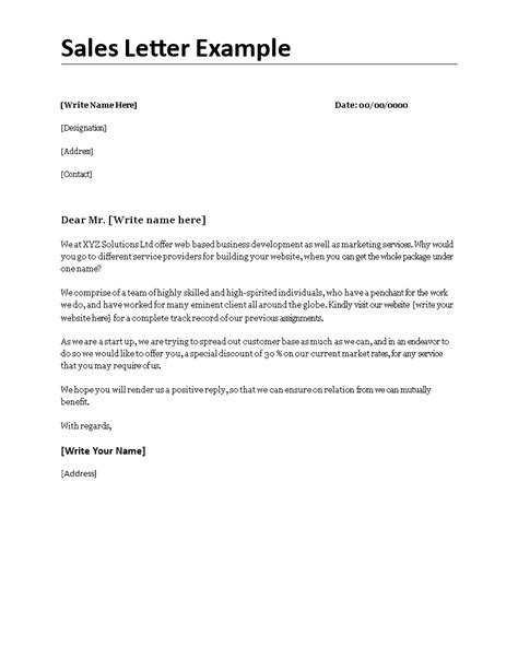 sales letter  sales letter exampledocx easy