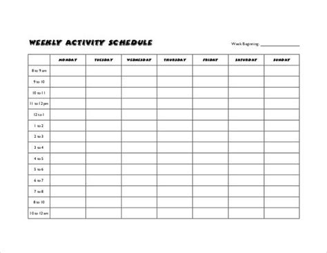 sample weekly schedule templates sample templates