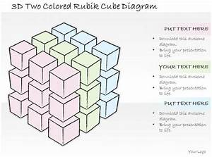 1814 Business Ppt Diagram 3d Two Colored Rubik Cube