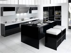 Cuisine Blanc Et Noir : noir et blanc habillent la cuisine elle d coration ~ Voncanada.com Idées de Décoration