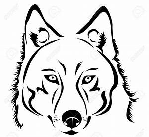 Wolf head clipart black and white free download