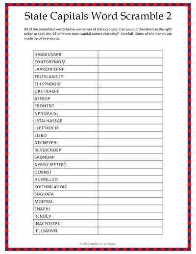 state capitals word scramble worksheet 2