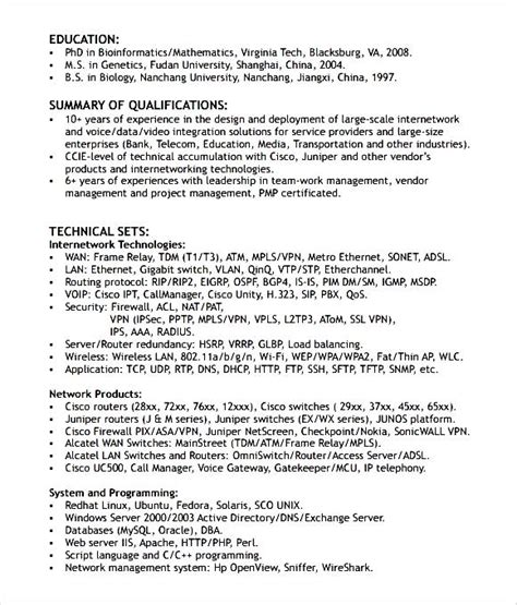 networking engineer resume format free sles