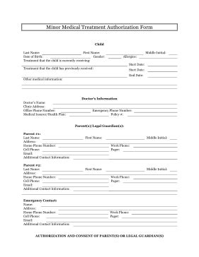 Free Consent To Change Attorney Form by Printable Minor Medical Treatment Authorization Legal