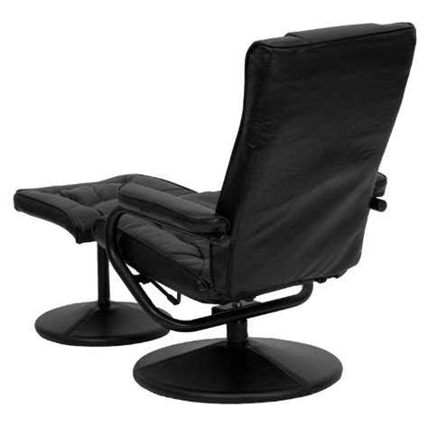 black faux leather recliner chair with swivel seat and