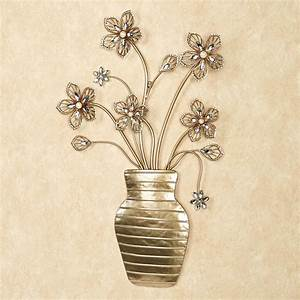 rosianna floral vase metal wall art With floral wall art