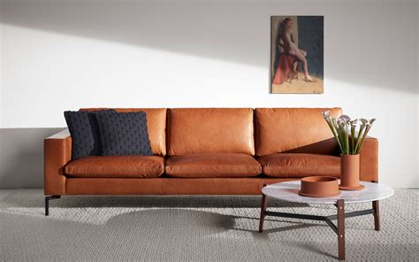 Contemporary Leather Sofa by New Standard 92 Quot Modern Leather Sofa Dot
