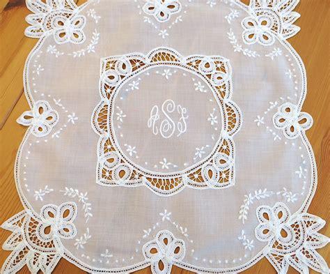 monogram m handkerchiefs initial handkerchief monogrammed m battenberg lace wedding handkerchief with 3 initial monogram