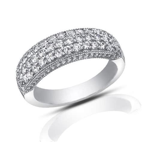 1 00 ct pave cut diamond wedding band ring