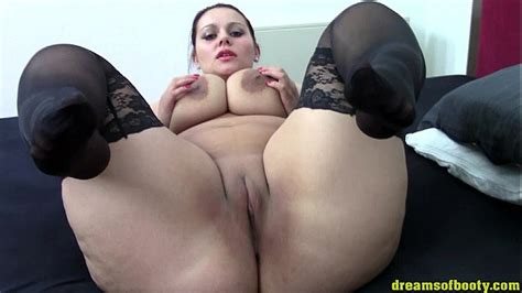 German Bbw Samantha Teasing In Black Stockings On The Bed