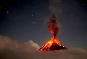 Volcan de Fuego erupting at night in 4K - YouTube