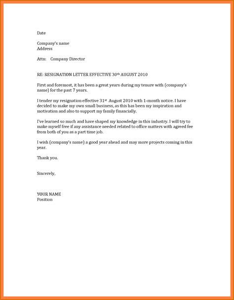 Letter Template 14 Formal Resignation Letter 1 Month Notice Lease Template