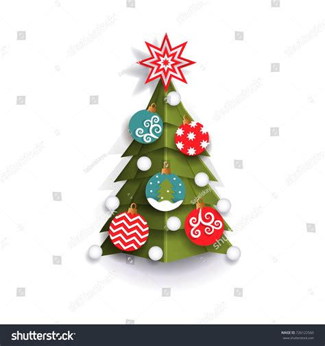 christmas cards shutterstock tree decoration element greeting stock vector 726122560