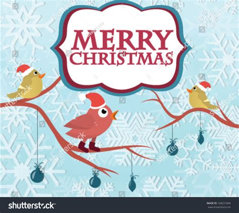 merry christmas greeting card birds singing stock vector 168221846