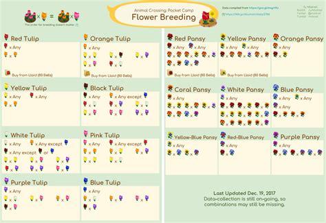 animal crossing pocket camp guide  flower breeding