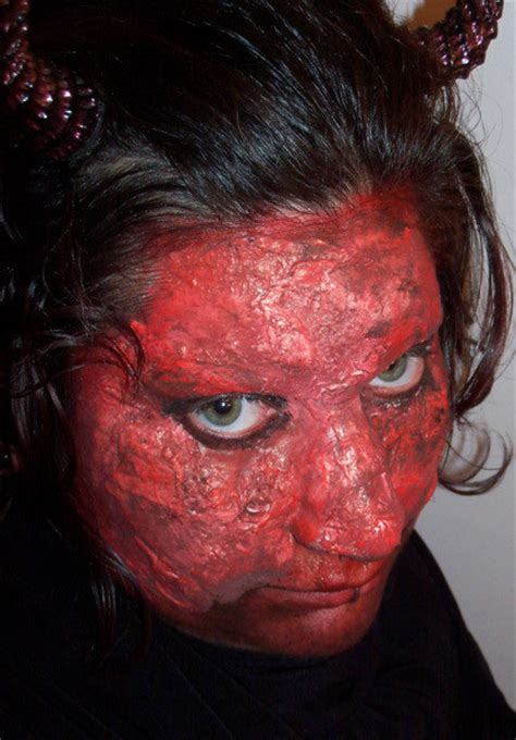 latex devil face fake skin makeup techniques