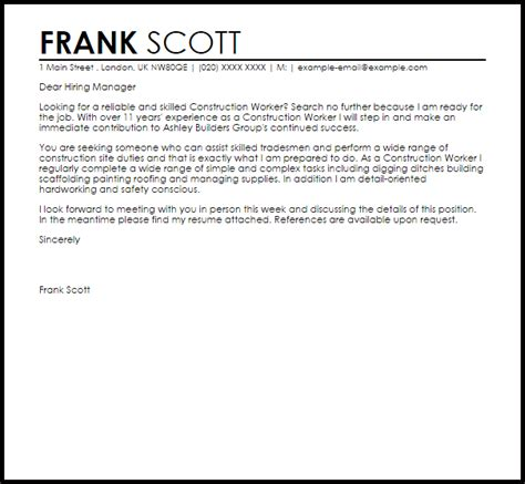 construction worker cover letter sample cover letter