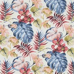 Tissu Imprimé Tropical : tissu coton imprim tropical feuilles de monstera blanc bleu perles co ~ Teatrodelosmanantiales.com Idées de Décoration