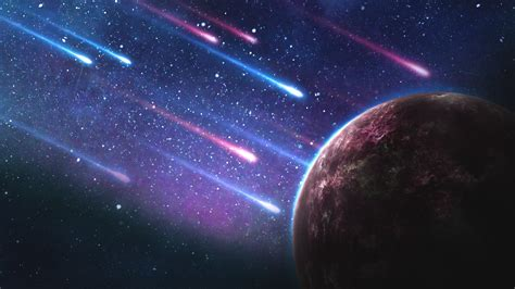 wallpaper meteorites planet galaxy stars  space