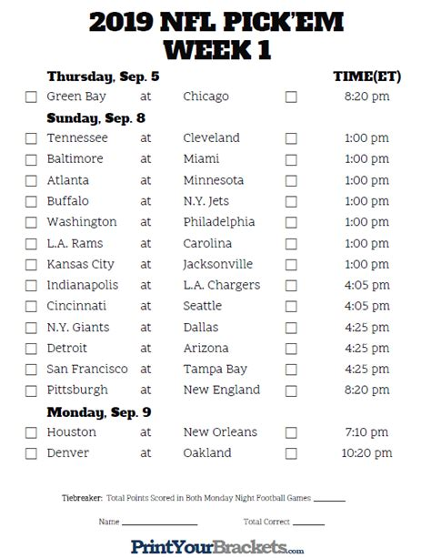 printable nfl week  schedule pick em pool