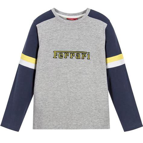 Shopping childrens ferrari clothes made affordable. Ferrari - Boys Grey & Navy Logo T-Shirt | Childrensalon | Navy logo, Smart shirts, Tshirt logo
