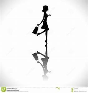 Fashion Shopping Girl Silhouette Stock Vector ...